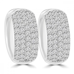 Madina Jewelry White 1.25 Ct Ladies Round Cut Diamond Huggie In 18 Kt Gold Earrings