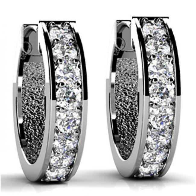 Item - White 1.50 Ct Round Cut Diamond Hoop Huggie In Prong Setting Earrings