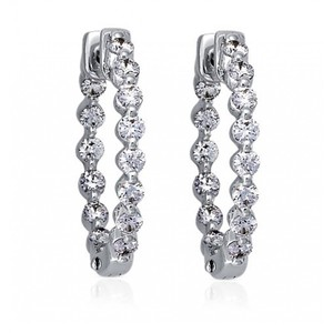 Madina Jewelry White 2.00 Ct Ladies Round Cut Diamond Hoop Huggie Earrings