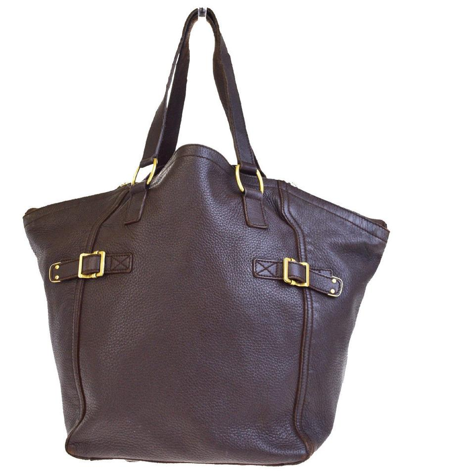 ab35c45d3f45 Saint Laurent Downtown Ysl Shoulder Italy Brown Leather Tote - Tradesy