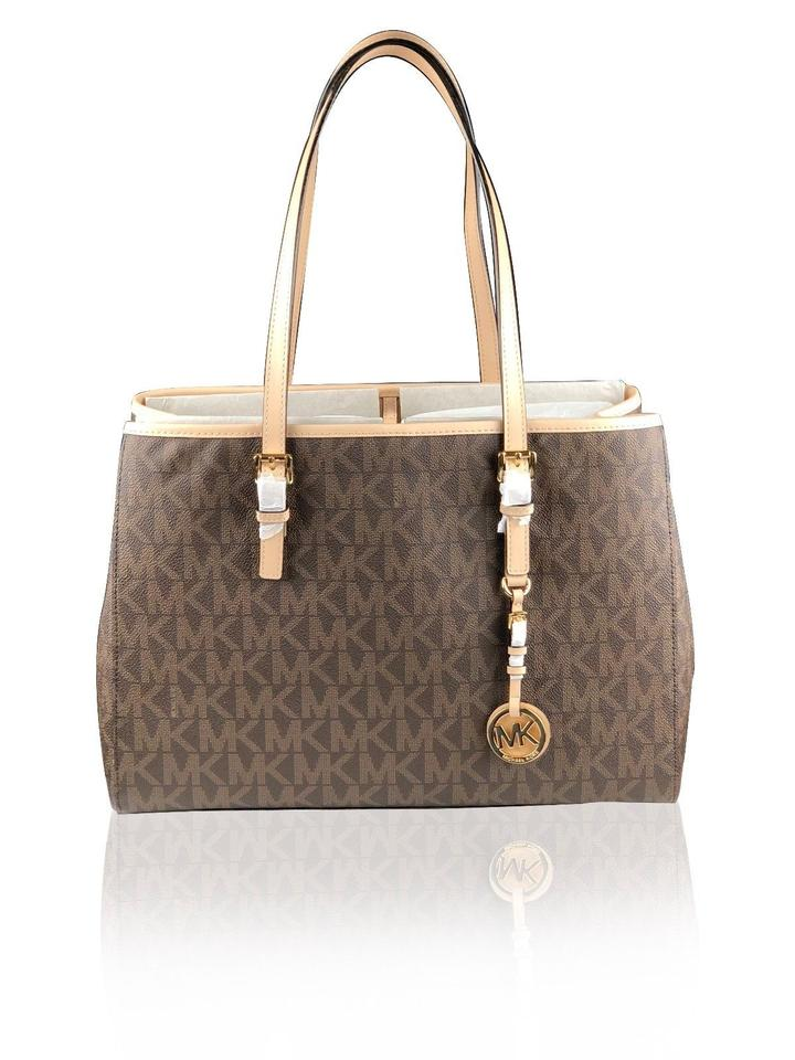 Michael Kors Jet Set Travel Large Ew Brown Leather Tote - Tradesy fe0ef916c9a38