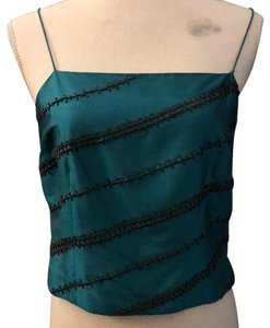 Ann Taylor Top deep blue/green, with charcoal colored beads