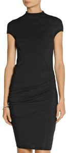 Helmut Lang Modal Wool Stretchy Fitted Drape Dress