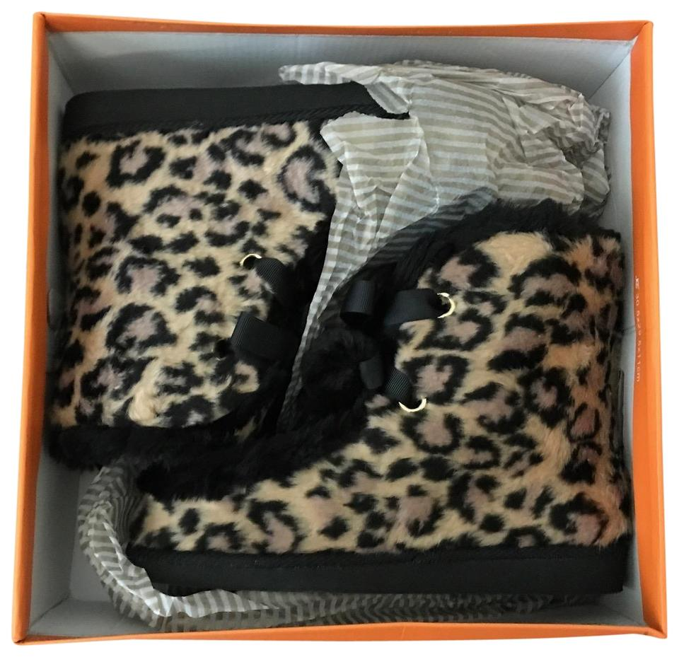 10a4891940f1 Kate Spade Black & Brown Baven Leopard Print Faux Fur Slippers Boots/Booties