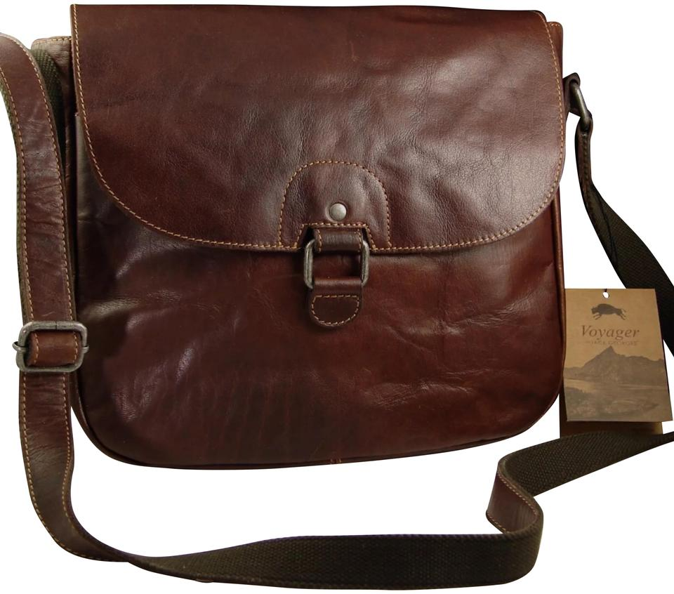 811653769 Jack Georges Shoulder Voyager Saddle Brown Genuine Leather Cross Body Bag