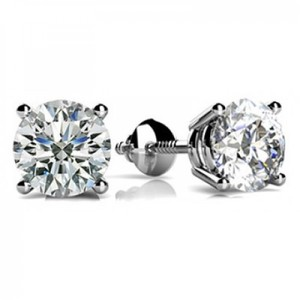 Madina Jewelry White 0.80 Ct Round Cut Diamond Stud Earrings