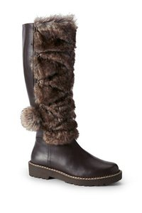 Lands' End Leather Faux Winter Brown Boots