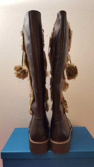 Lands' End Leather Faux Winter Brown Boots Image 2