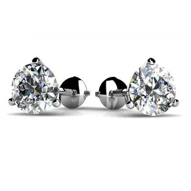 Item - White 1.00 Ct Round Cut Diamond Martini Setting Stud In Screw Back Earrings
