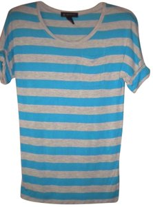 INC International Concepts Striped Rayon Sleeve T Shirt Multi-Color