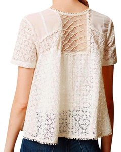 Anthropologie Button Front Cropped Length Sheer Fabric Pearl-like Beading Super Embellished Top Ivory