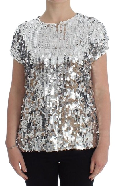 Item - White / Silver D13202-2 Women's Sequined Crewneck Blouse T-shirt (It 42) Tee Shirt Size 6 (S)
