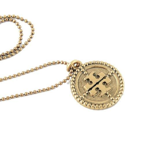 Tory Burch NEW Gold 'Coin Logo' Pendant Necklace