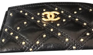 107ef31ae569 Chanel NEW SOLD OUT card case - with gold studs and Chanel logo. durable  black