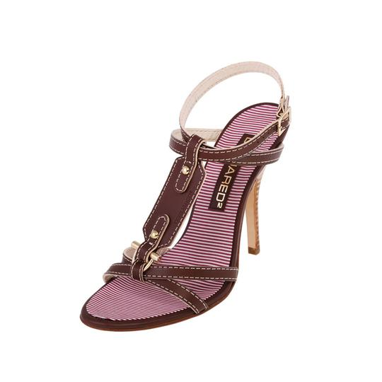 Preload https://img-static.tradesy.com/item/24069657/dsquared2-brown-new-women-leather-and-textile-t-strap-high-heels-stilettos-sandals-size-us-85-regula-0-0-540-540.jpg