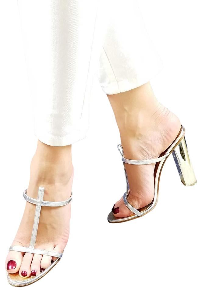 Dsquared2 Silver High New Dsq2 Genuine Leather T-strap High Silver Heel Slide-in Sandals e329cf