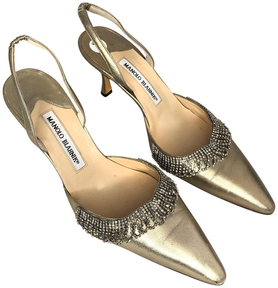 Manolo Gold Blahnik Gold Manolo And Rhinestone Pump Mules/Slides 5fce71