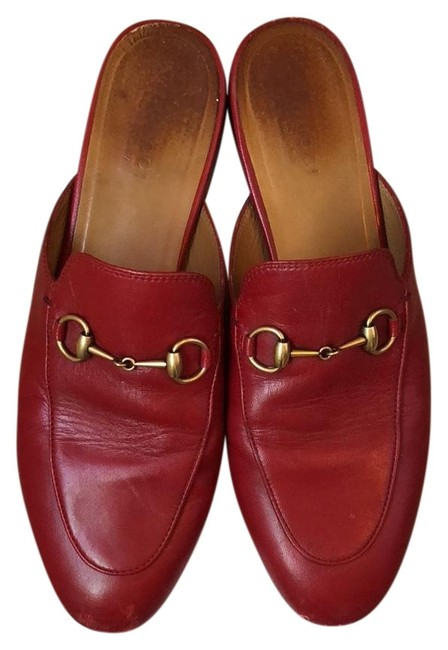 Item - Red Princetown Leather Flat Slippers Mules/Slides Size EU 38.5 (Approx. US 8.5) Regular (M, B)