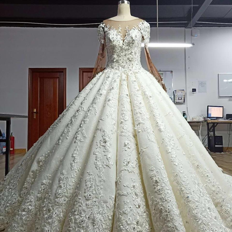 Ivory White Princess Cut Blinged Ball Gown Modern Wedding