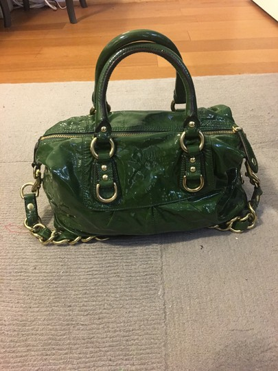 Coach Patent Leather Leather Gold Satchel in Green