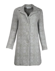 Amina Rubinacci Cashmere Tweed Coat Grey Jacket