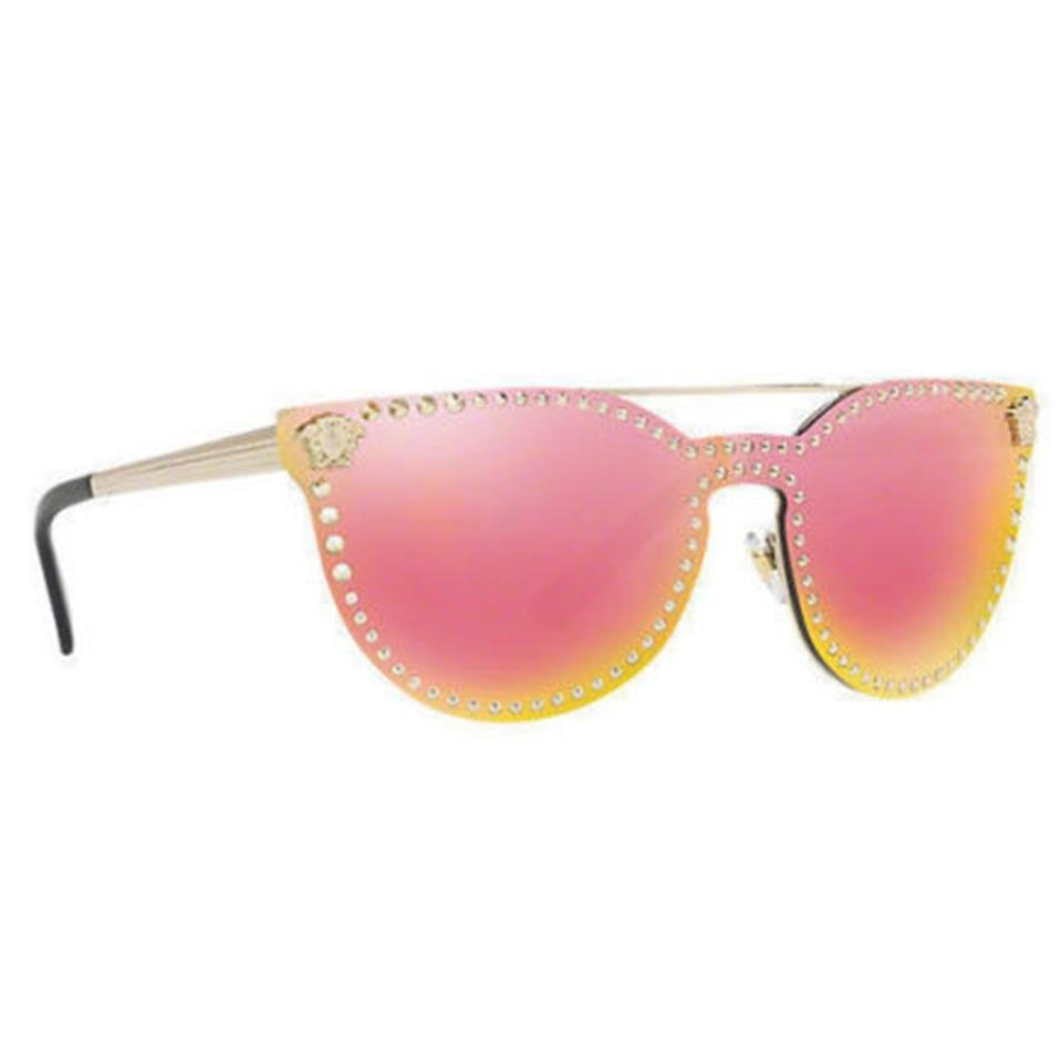 c82f6cb99628 Versace Gold Cat Eye Style Women s Ve2177 12524z Yellow Rose Mirrored  Sunglasses