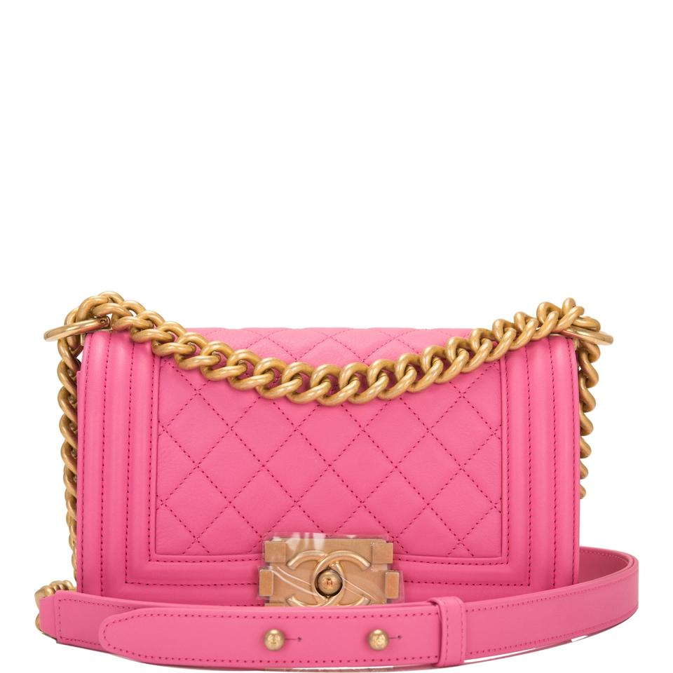 Chanel Boy Quilted Calfskin Small Pink Leather Shoulder Bag - Tradesy ef591865d02f8