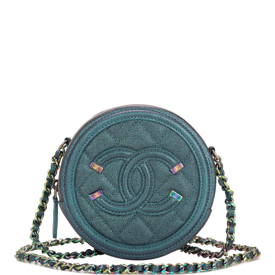 80a93cefd37711 Chanel Dark Iridescent Caviar Round Mini Crossbody Turquoise Leather ...