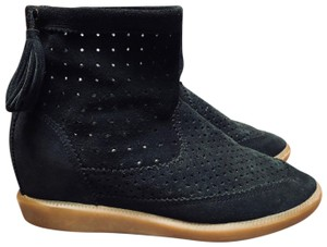 Isabel Marant Basley Stainer Perforated Suede Black Boots