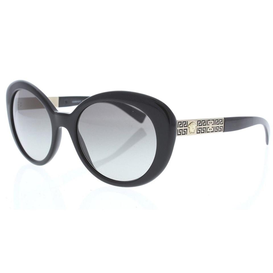 70acacf13dba Versace Polished Black   Gold Oval Style Women s Ve4318 Gb1 11 Grey  Gradient Lens Sunglasses
