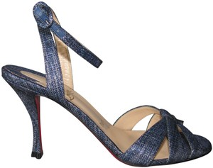 73cb03077566 Christian Louboutin Sculpted Heel With Box Red Sole Blue Sandals