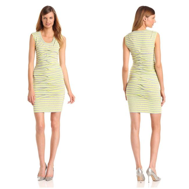 Preload https://img-static.tradesy.com/item/24070096/nicole-miller-yellow-and-grey-striped-gather-front-stretch-short-casual-dress-size-4-s-0-3-650-650.jpg