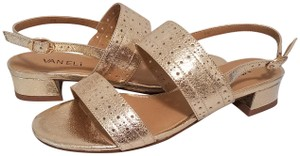 Vaneli Perforated Metallic Gold Sandals