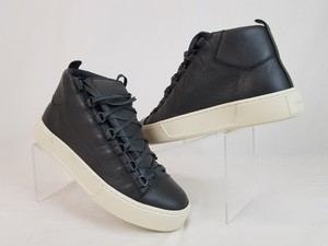 Balenciaga Gray Arena Dark Leather Lace Up Hi Top Sneakers 40 Us 7 Shoes