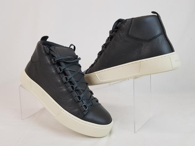 Item - Gray Arena Dark Leather Lace Up Hi Top Sneakers 40 Us 7 Shoes