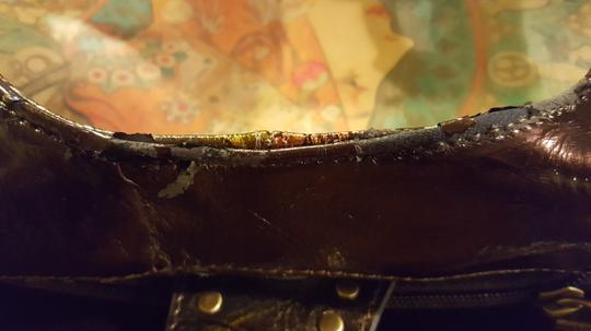 Sharif Hand Painted Leather Satchel in Gold tone