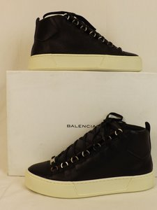 Balenciaga Black Arena Leather Lace Up Hi Top Sneakers 39 Us 6 Shoes