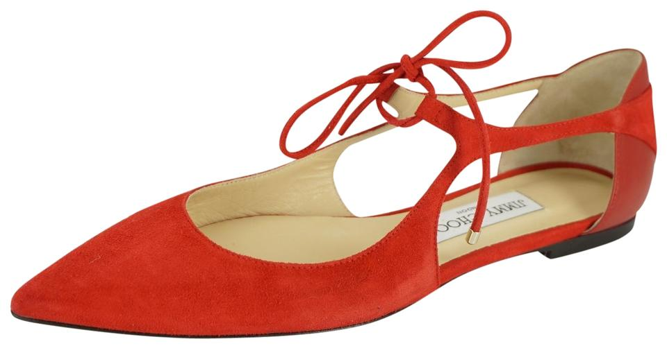 4829f08616c4 Jimmy Choo Red Suede Vanessa Cut Out Lace Up Pointy Toe Flat Sandals ...