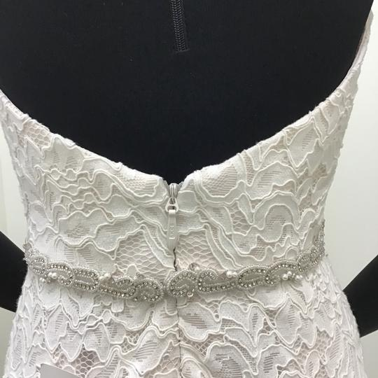 Mikaella Bridal Natural/Pearl Lace Style #2165 W/Beaded Belt Sexy Wedding Dress Size 8 (M)