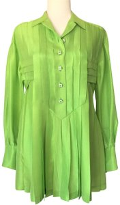 Chanel Longsleeve Green Top CHANEL PLEAT LIME SILK BLOUSE
