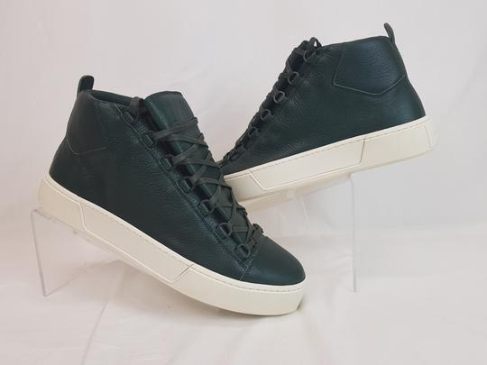 Balenciaga Green Arena Dark Leather Lace Up Hi Top Sneakers 42 Us 9 Shoes