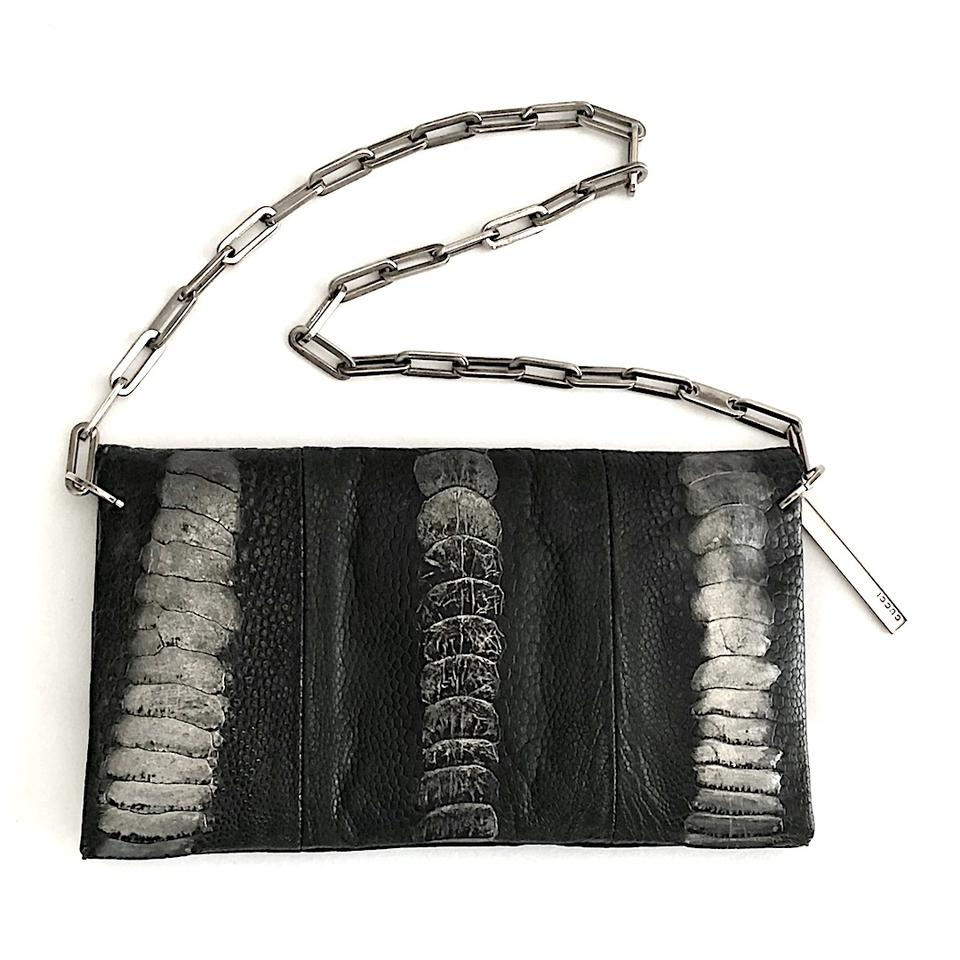 8a3bf139c4a6ce Gucci Evening Vintage with Chain Link Handle Gray Silver Ostrich Paw Shoulder  Bag