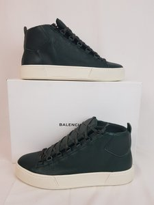 Balenciaga Green Arena Dark Leather Lace Up Hi Top Sneakers 43 Us 10 Shoes