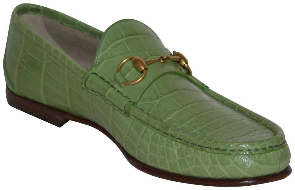 697e716773b Gucci Green Horsebit Mens Crocodile 1921 Loafers Eu 42.5 Flats Size ...