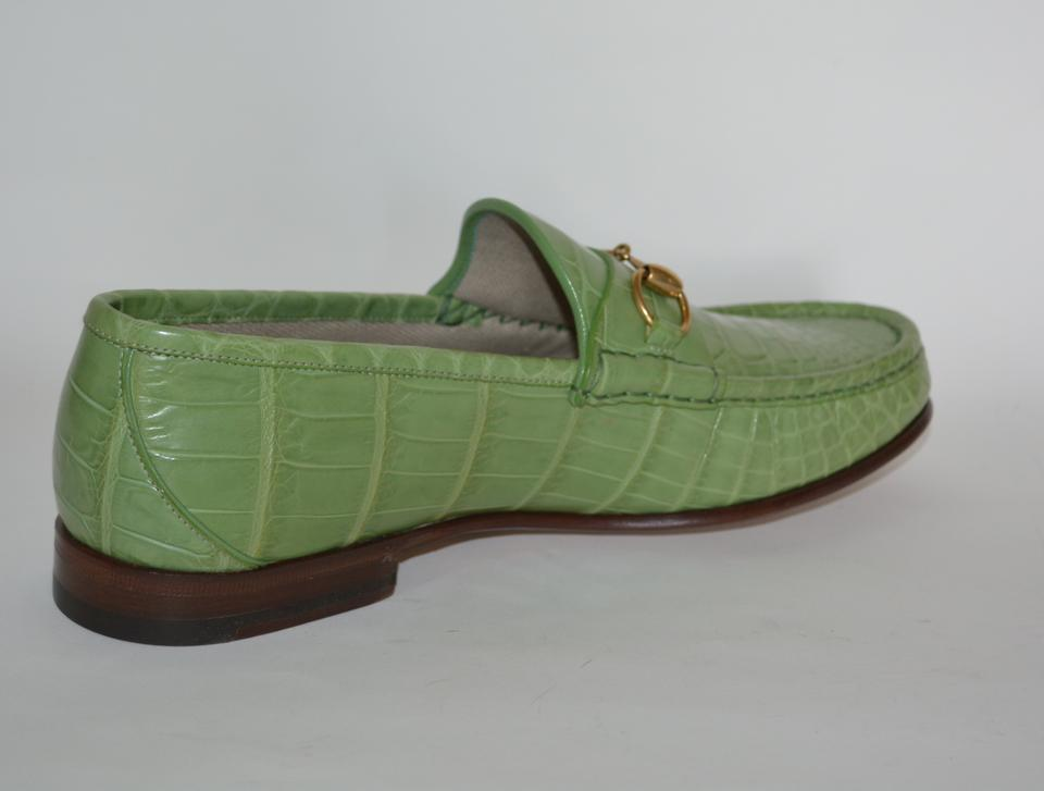 6019c4ce1f9 Gucci Green Horsebit Mens Crocodile 1921 Loafers Eu 42.5 Flats Size US 9.5  Regular (M