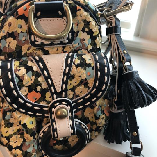 Isabella Fiore Satchel in Black with flowers