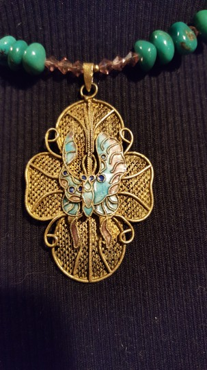 Juried Artist Turquoise Butterfly Pendant Necklace
