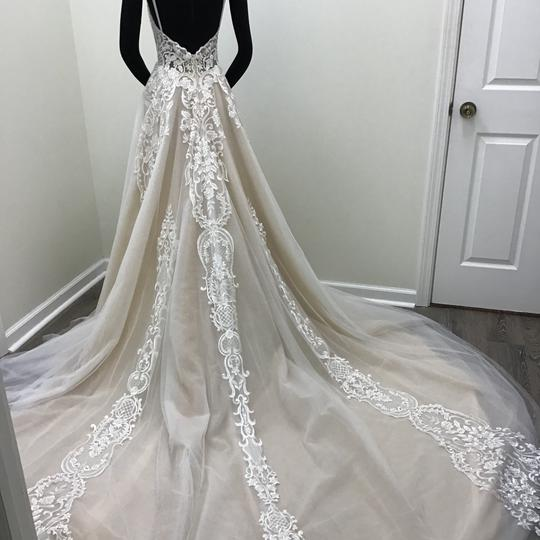 Calla Blanche Ivory/Nude Lace Tulle 17254 Odelia Traditional Wedding Dress Size 8 (M)