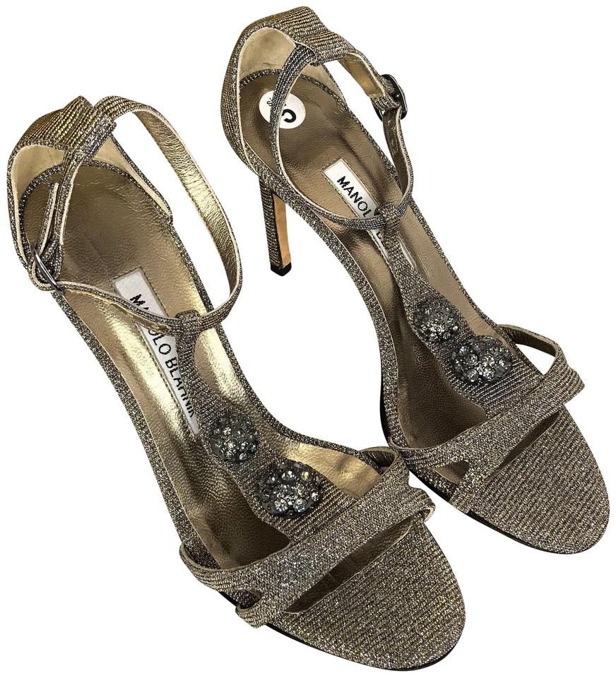 Manolo Blahnik Sandals Silver Metallic Strappy Heel Sandals Blahnik bb76e6