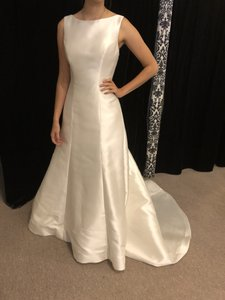 Mori Lee Ivory Mikado Satin 5603 Kassandra Traditional Wedding Dress Size 12 (L)
